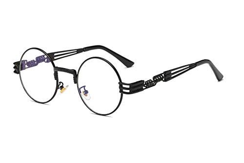Dollger John Lennon - Gafas de sol vintage steampunk para mujeres y hombres, redondas, hippie, UV400, montura metálica, color, talla Geeignet für alle Gesichtsformen