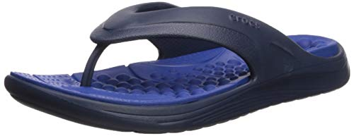 crocs Unisex-Adult Reviva Navy Flip Flops Thong Sandals-8...