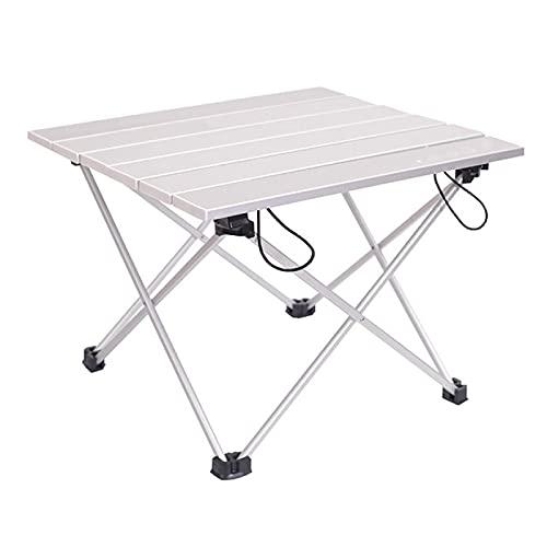 Mesa de Camping Plegable, Ligera y portátil con Tablero de Aluminio y Bolsa de Transporte, Picnic al Aire Libre, Cocina, Senderismo en la Playa