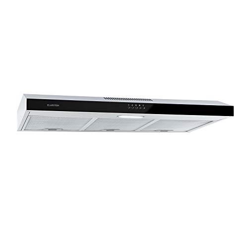 KLARSTEIN Contempo - hotte sous-structure, hotte aspirante, extraction/recirculation, débit max: 175 m³ / h, matériau: inox brossé/façade en verre acrylique noir, LED, 90 cm - noir