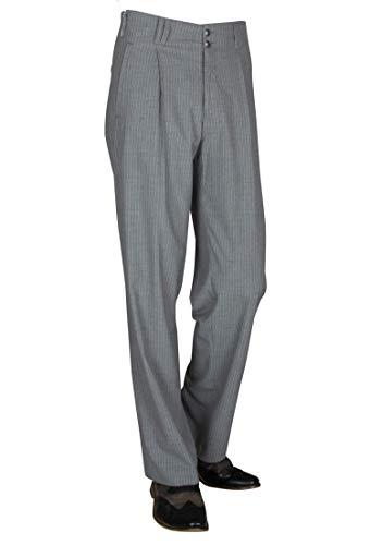 Grau Weiß Gestreifte Herren Stoffhose im Stil der 50er, 60er Jahr Nadelstreifen Herren Hose, Fifties Style Model Swing Größe 48