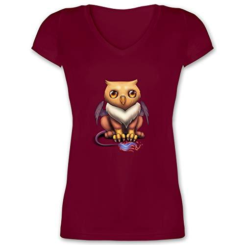 Sonstige Tiere - Baby Greif - XL - Bordeauxrot - Baby - XO1525 - Damen T-Shirt mit V-Ausschnitt