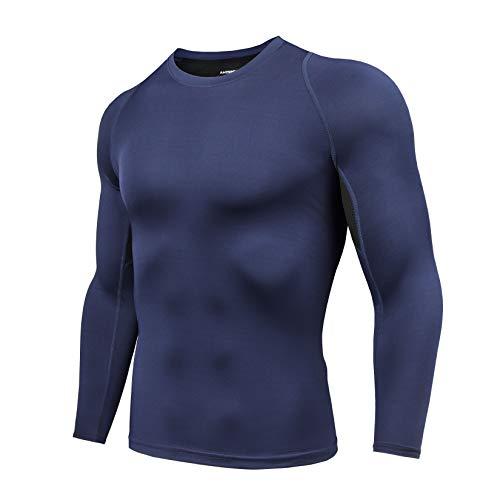 AMZSPORT Maglia Compressione Uomo Maglietta Manica Lunga T-Shirt Sportiva per Palestra Corsa Ciclismo Golf, Blu XXL