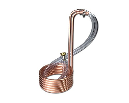 COLDBREAK 12.5' Wort Chiller, 3/8', 100% Pure USA Copper, 8' Vinyl Tubing, Heavy-Duty Garden Hose Fitting, Homebrewing
