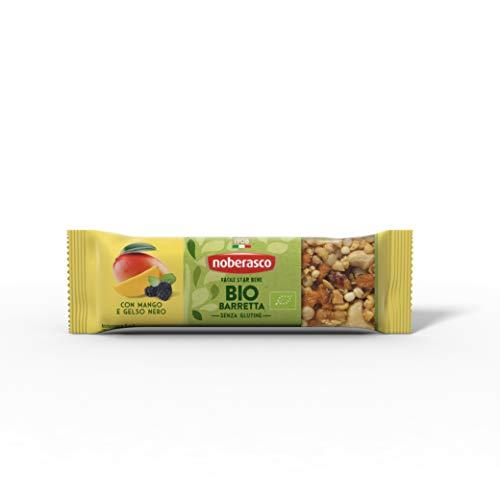 Noberasco Bio Barretta con Mango e Gelso Nero 30G -Barretta con frutta essiccata, frutta secca e semi, biologica-Cartoncino con 24 barrette da 30g-nuove fuori BUONE come sempre