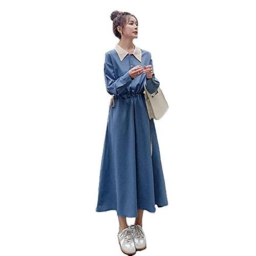 Vestido de camisa de manga larga de color de contraste francés Mujer...
