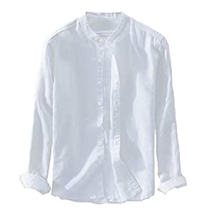 IAN-LIFE メンズ シャツ 麻シャツ 襟なし リネンシャツ 綿麻 長袖 半袖 無地 柔らかい 夏 秋 6色 XS-3XL展開