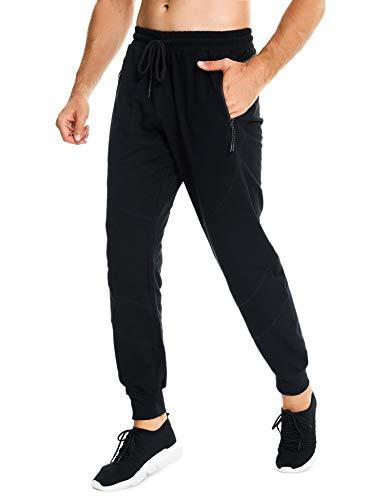 Sykooria Pantalones de Correr Algodón para Hombre Jogger con Cremallera Bolsillos Pantalones Deportivos con Cordón Entrenamiento Ciclismo Gimnasio