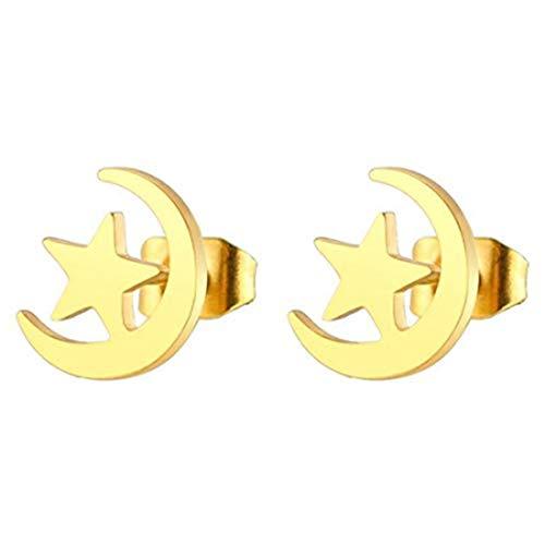 yichahu Pendientes de tuerca con diseño de luna y estrella, diseño de luna y estrella, color dorado
