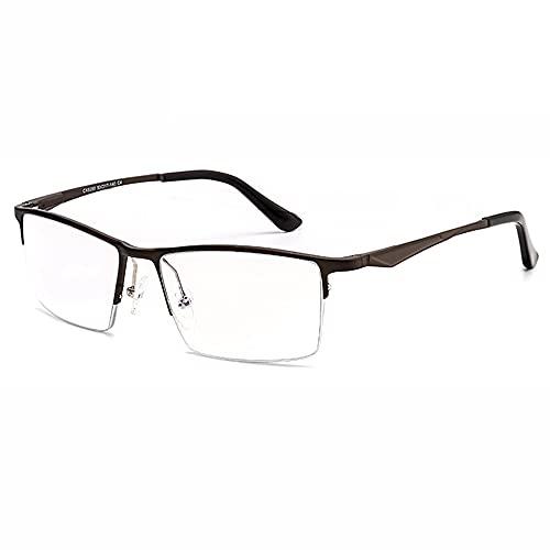 CXNEYE Gafas De Lectura Fotocromáticas Progresivas Multifocales Materiales De Aluminio-magnesio Aeroespaciales Gafas De Sol con Montura Metálica De Medio Marco para Hombre Mujer