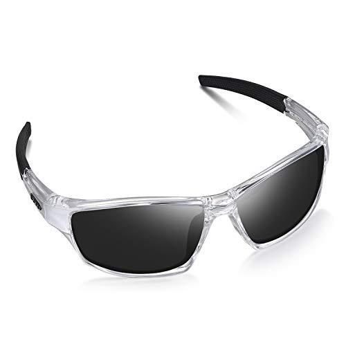 LZXC Herren Sport Polarized Sonnenbrille mit ultraleichtem Rahmen, UV400-Schutz zum Fahren, Radfahren (Schwarzer Rahmen Transparent Linse)