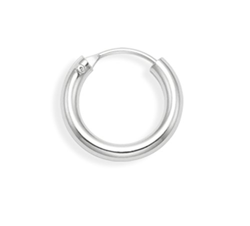 Men's Sterling Silver SINGLE thick Hoop Earring - SIZE: 14mm x 2.5mm (1/2 INCH) - MUCH SMALLER THAN SHOWN - SEE 2ND PHOTO