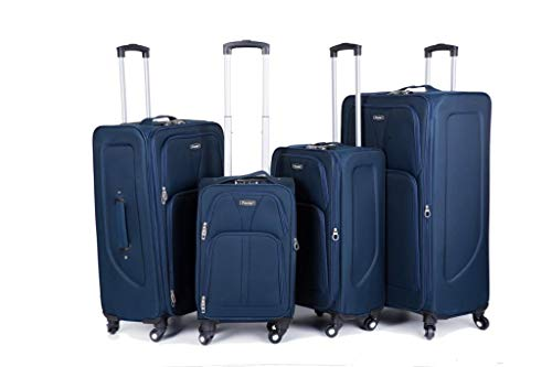 32' Extra Large 4 Wheel Spinner Soft Shell Suitcases Expandable Luggage Trolley (Navy, 20)