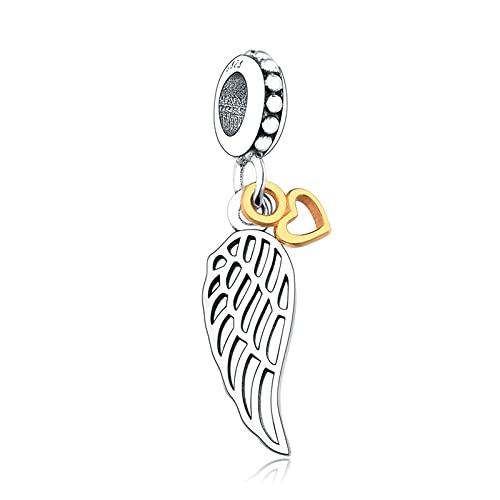 JIAQ Encantos Pulseras Brazalete 925 Sterling Silver Angel Wings Gold Color Heart Beads Colgante Haciendo Berloque Bricolaje
