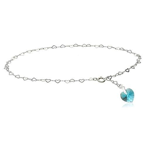 Kristallwerk Fußkette, Fußkettchen 925 Silber mit Swarovski Elements Herz in der Farbe Blue Zircon