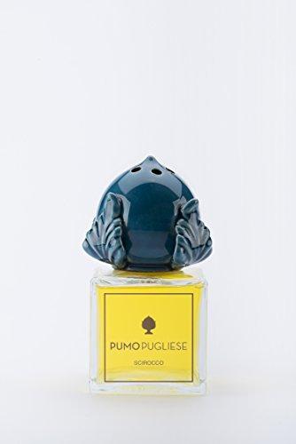 Pumo Pugliese - Diffusore con Bastoncini di Legno Profuma Ambiente - Oggetto in Ceramica Colorata Blu Oltremare - Made in Italy - Soprammobile per Casa - Idea Regalo - Fragranza Grecale 100 ml