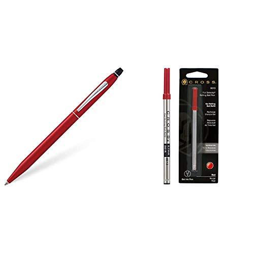 Cross Click - Bolígrafo, color rojo metálico + 8013 - Recambio para bolígrafo roller, color rojo
