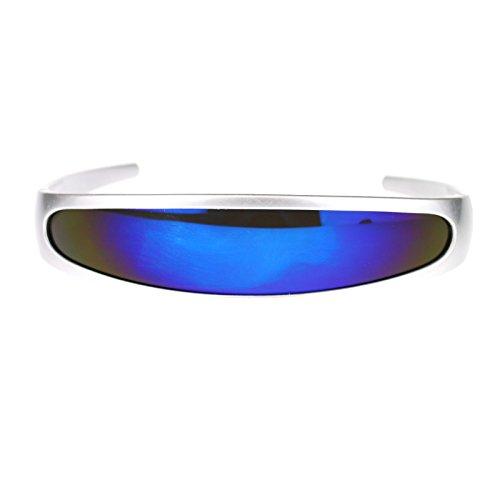 Silver Frame Blue Mirrored Lens Cyclops Robotic 80s Sunglasses
