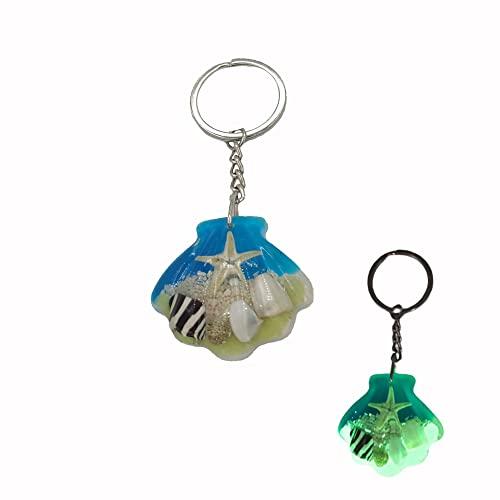PTGMH Shell Keychain Pendant Glow In the Dark Starfish Key Ring Charm Decor for Bag Seaside Holiday Gift Birthday Gifts