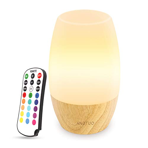 ANGTUO LED Wooden Night Light, Silicone Baby Table Bedside Night Light with Remote for Bedrooms, Cute Infant Toddler Kids Cool Color Changing Brightness Adjustment Nursery Breastfeed Lamp, US Plug