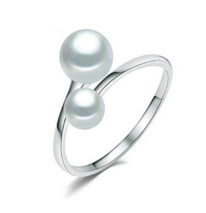 Particolare anello in argento sterling 925 con 2 vere perle d'acqua dolce, bianco, Ø 7 & 9 mm, forma a bottone. e Argento, onesize