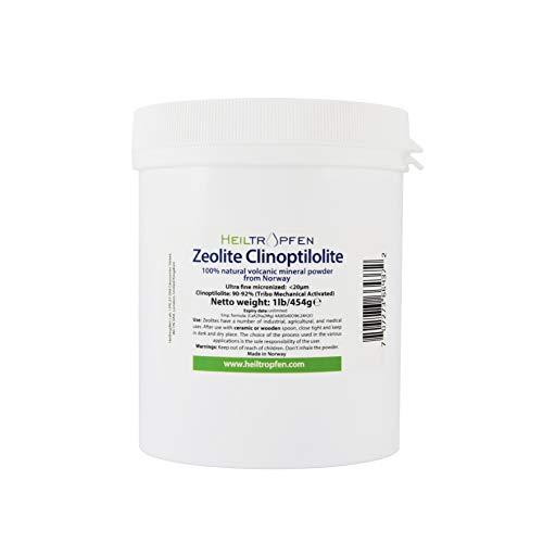 Zeolietpoeder, 454 g, ULTRA FINE Zeolite poeder, minder dan 20 µm, Clinoptilolite: 90-92%, geactiveerd clinoptiloliet, natuurlijk mineraal stof. Heiltropfen®