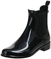 cheap ALDO Brilasen Chelsea Ankle Rain Boots for Women, Black Shiny, 10