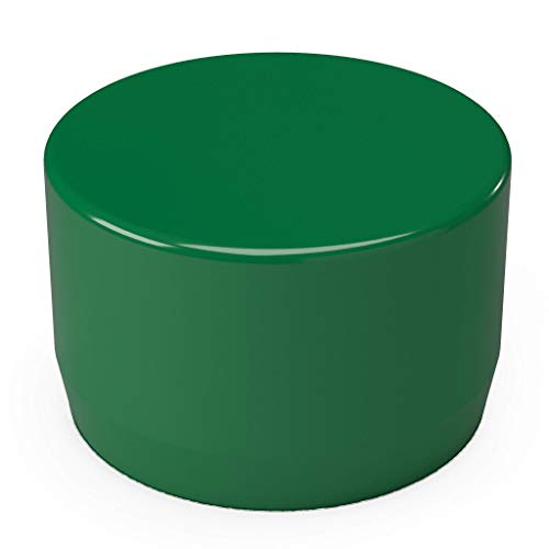 "FORMUFIT F114EEC-GR-10 PVC External End Cap, Furniture Grade, 1-1/4"" Size, Green (Pack of 10)"