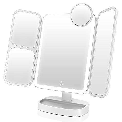 EASEHOLD Espejo Maquillaje con Luz, Triple Espejo Plegable con Aumentos 10x, 5X, 2X, 1x, 38 Lámpara LED 180º con Mostrador, Regalos Originales para Mujer, Carga con USB o Batería (Blanco)
