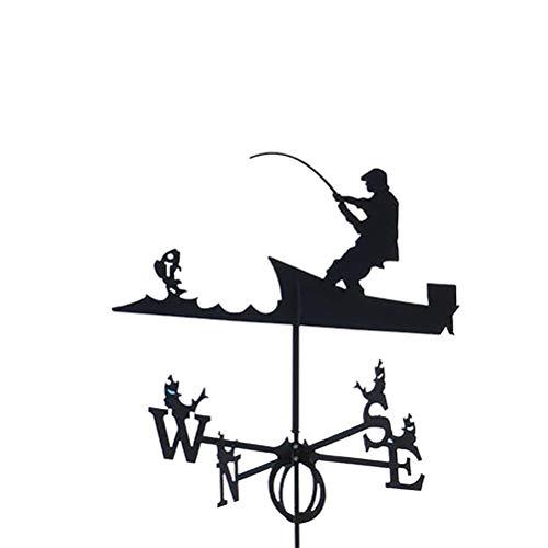 YEKKU Wetterfahne aus Edelstahl, langlebig, Retro, Metall-Wetterfahne mit Gartenpfahl, Windfahne Retro Wetterfahne Garten Terrasse Hof Ornament