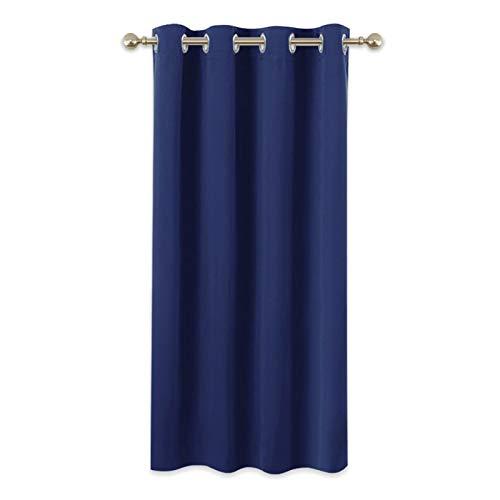 PONY DANCE Kinder Vorhänge Schlafzimmer - Kurze Gardinen Blickdicht Thermo Vorhang Wärmeisolierend Ösenvorhang Blickdicht, 1 Stück H 137 x B 132 cm, Blau