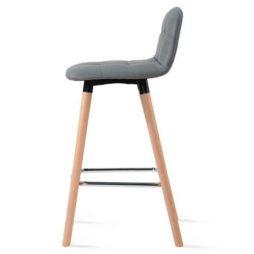 Set di sedie 2 sgabelli da bar con schienale poggiapiedi e ottomani sedile in ecopelle da giardino sedie per la colazione cucina bancone bar sedie per adulti grigio/bianco hengdeqiang