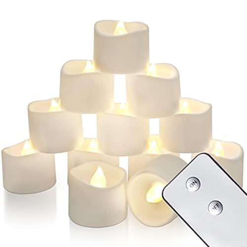 Homemory - Candele LED con telecomando, senza timer, per decorazione della casa e feste stagionali, confezione da 12, luce bianca calda