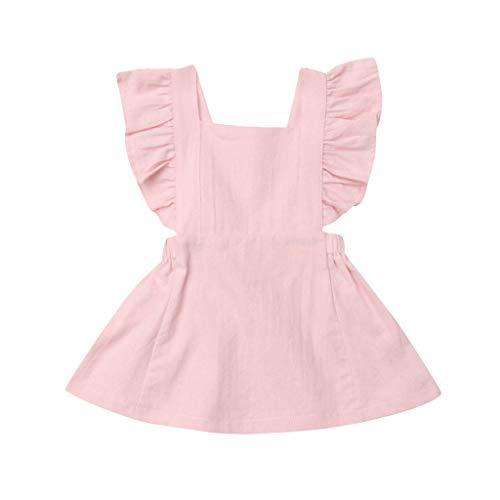 JUTOO Sommer Kleinkind neugeborenes Baby Kinder Jungen mädchen rüschen einfarbig Strampler Bodysuit Overall Kleidung (Rosa 2,110)