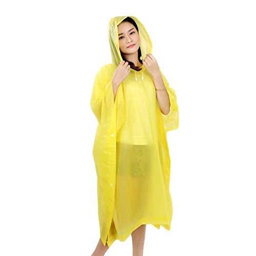 VORCOOL Eva Regenmantel Schutz Overall Overalls Mode Kapuzen Regenmantel Regenbekleidung Slicker Isolation Kleid Leichte Regenmäntel (Gelb)