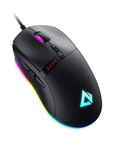 AUKEY Knight Gaming Mouse, RGB Wired Gaming Mouse with 10000 DPI, 8 Programmable Buttons, RGB Lighting Effects, Macros, Fire Button Gaming Mice for PC and Mac