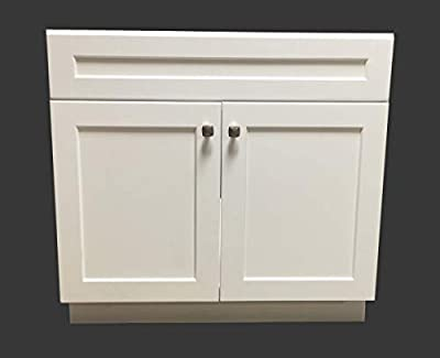 "30"" Wide x 21"" Deep New White Shaker Single-Sink Bathroom Vanity Base Cabinet WS-V3021"