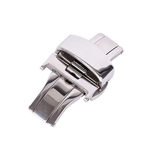 Reloj de Acero Inoxidable con Hebilla de Doble botón Mariposa desplegable Broche para Correa de Reloj 20MM (Plata)