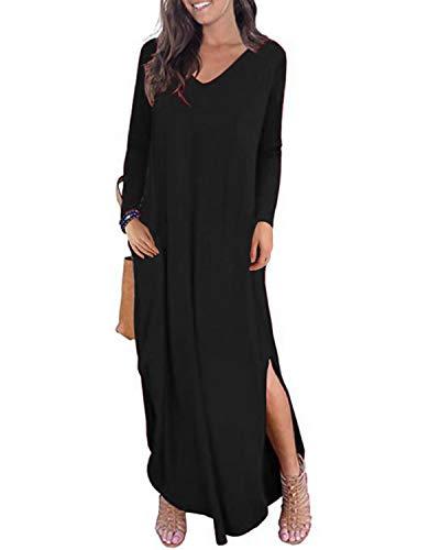 Kidsform Long Sleeve Maxi Dress for Women V Neck Casual Loose Long Dress Side Split Solid Summer Autumn Dress with Pockets K-Black Medium