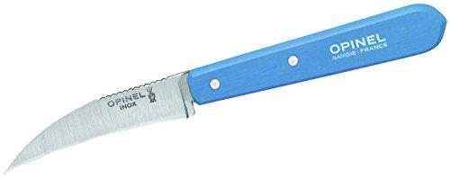 Opinel No. 114 Couteau à légumes pour adulte en acier inoxydable Sandvik, courbé, manche en bois de hêtre bleu clair, multicolore, taille unique