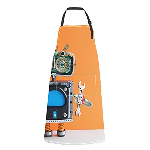 Delantales para hombre robot tecnológico para asar a la parrilla lazo ajustable robot tecnológico con bolsillos para adulto
