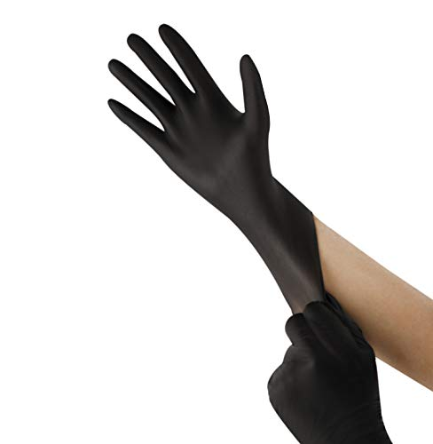 Kexle Nitrile Disposable Gloves Large 100 Count Latex Free Safety Working Gloves for Food Handle or Industrial Use Powder Free Nitrile Gloves Black Extra Large (Black, XLarge)