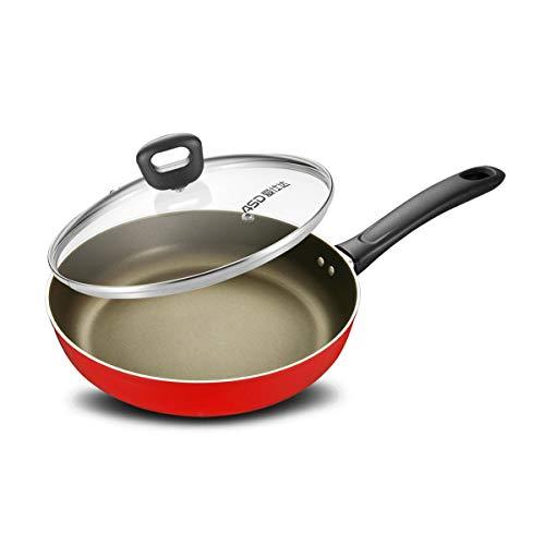 CHENTAOCS Pan, anti-aanbakplaat, koekenpan, huishoudelijke rookloze pot, kleine wok fornuis gasfornuis, rode koekenpan, 24cm B