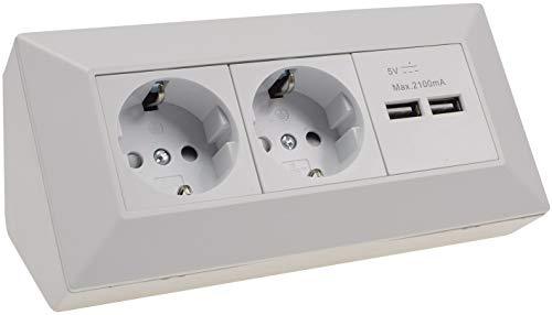 ChiliTec stekkerverdeler 2-voudig en 2X USB met 45° hoek 230V opbouw voorbedraad mat wit