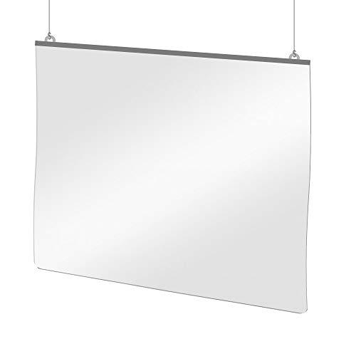 Mampara Protectora Colgante de Metacrilato Transparente para Mostrador, 125 x 100 cm, Grosor de 0.7 mm