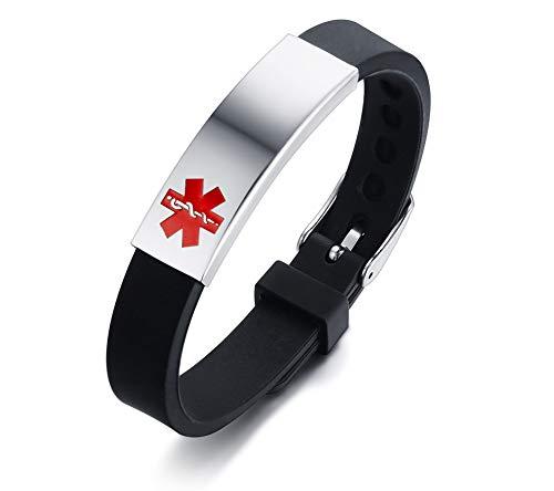 NJ Customized Medical Alert Bracelet for Kids Teens Adults - Stainless...