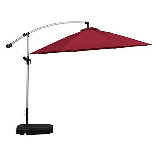 ZYFWBDZ Sombrilla de Patio con voladizo al Aire Libre, sombrilla Grande de plátano para Patio de 3 m, Mecanismo de manivela (sin Base),Rojo
