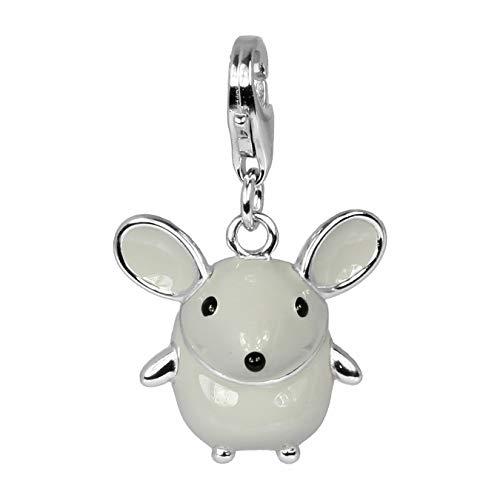 SilberDream Charm 925er Silber Emaille Armband Anhänger grau Maus FC612