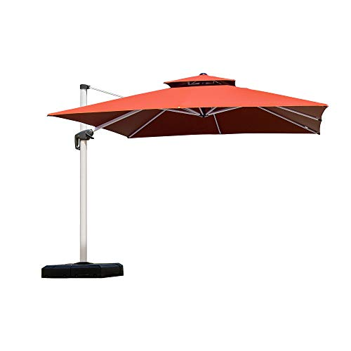 PURPLE LEAF 11 Feet Double Top Deluxe Square Patio Umbrella Offset Hanging Umbrella Cantilever Umbrella Outdoor Market Umbrella Garden Umbrella, Brick Red