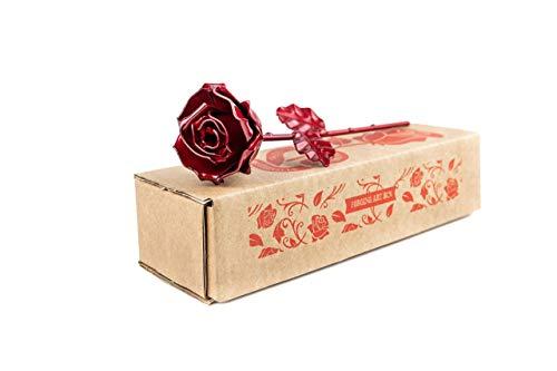 Rosa Eterna de Hierro Forjado Roja - Forjada a Mano